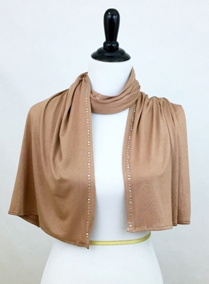 Picture of Light Brown Jersey Wrap with Rhinestones