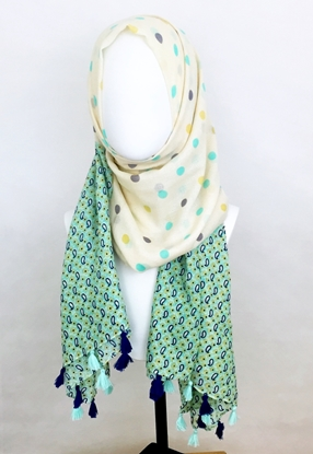 Picture of Fern beige Polka Dots Scarf