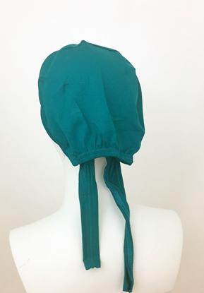 Picture of Hijab Green Teal Tie Back Bonnet - Turlu Fabric