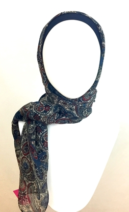 Picture of Shimmer Navy & Beige Paisley Patterned Scarf
