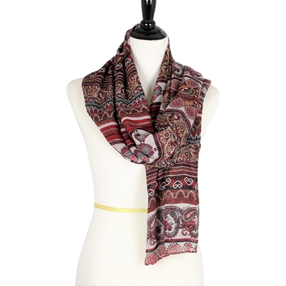 Picture of Patterned Stripes Brick & MaroonScarf