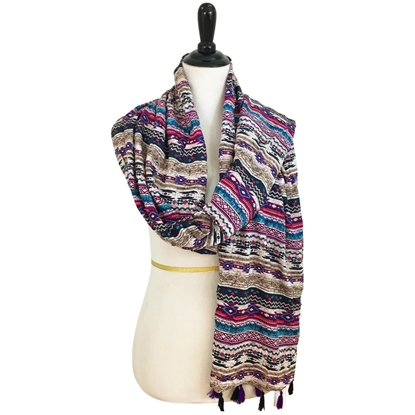 Picture of Cooling Tribal Patterned Stripes Hijab Violet