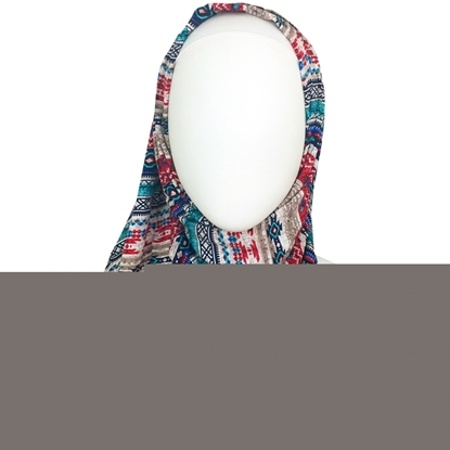 Picture of Cooling Tribal Patterned Stripes Hijab  Aqua Red Brick