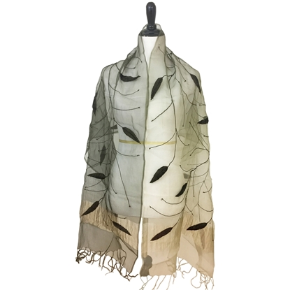Picture of Embroidered  & Beaded Ombre Leafy Scarf