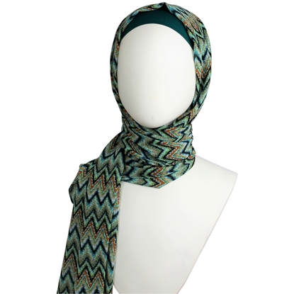 Picture of Chiffon ZigZag Teal & Green Scarf