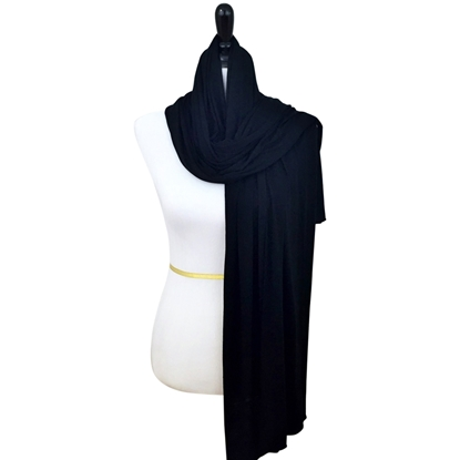 Picture of Black  Jersey Hijab Wrap Soft & Drapey Cotton