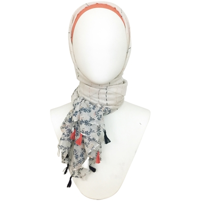 Picture of Stripes & Leafy Floral Border Scarf