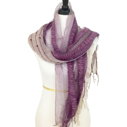 Picture of Woven & Beaded Striped Scarf