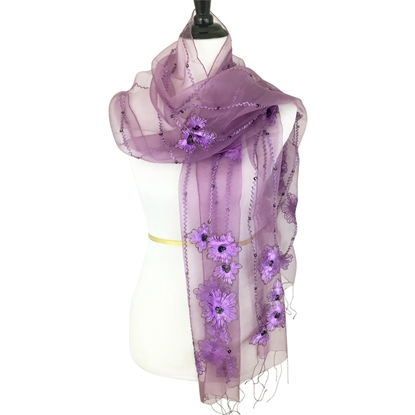 Picture of Woven Floral Violet Scarf