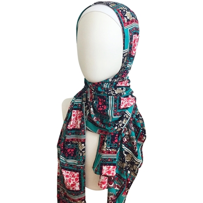 Picture of Floral Squares Patterned Cotton Jersey Wrap, Extra Spandex