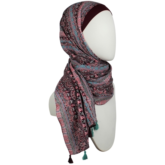 Picture of Cooling Patterned Sumac Red Stripes Hijab