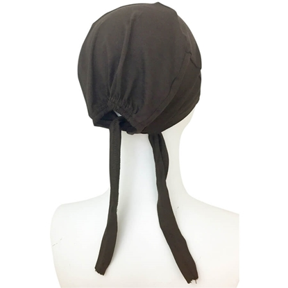 Picture of Hijab Brown Tie Back Bonnet - Turlu Fabric