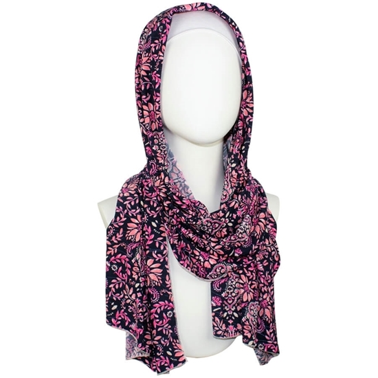Floral patterned jersey hijab