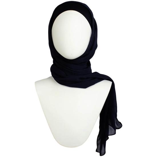 Picture of Basic Navy Blue Chiffon Hijab