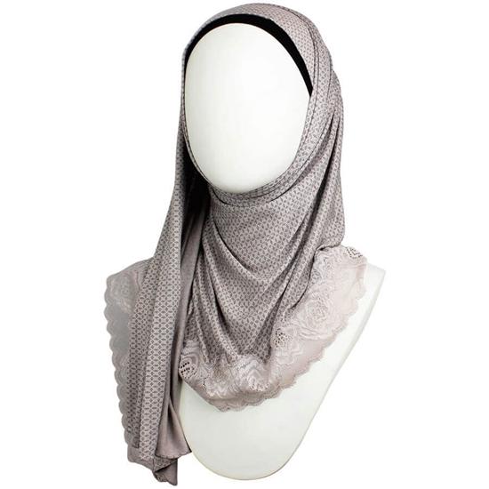 Picture of Kuwaiti Taupe Hijab Lace border