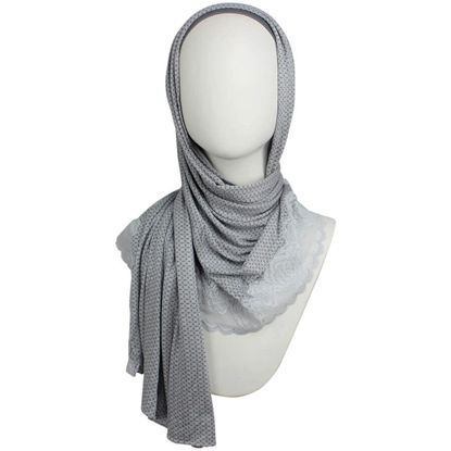 Picture of Kuwaiti Blue-Grey Hijab Lace border