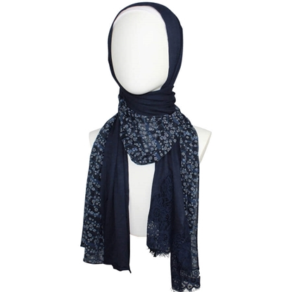 Picture of Kuwaiti Double Border  & Lace Navy Hijab