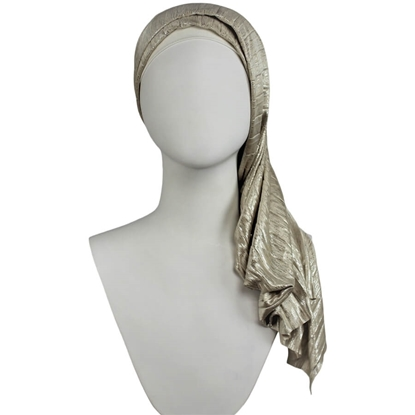 Picture of Shine on!  Metallic Golden Beige & Silver Plissé  Hijab
