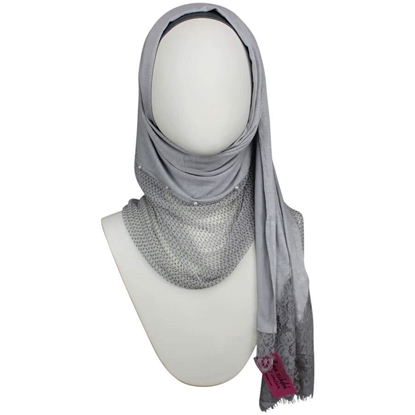 Picture of Kuwaiti PEARLY  Double Border  & Lace Grey Hijab