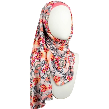 Picture of Skin Tone Enhancer Patterned Jersey Hijab