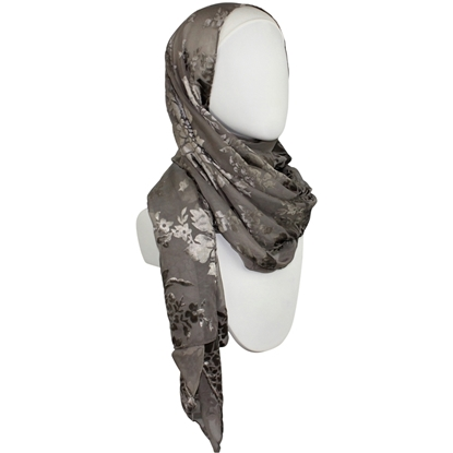 Picture of Chiffon Burnout Floral Brown-ish Olive Hijab