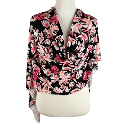Picture of Pink Floral Patterned Jersey Hijab